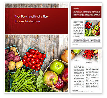 Fruit and Veg Word Template, 11252, Food & Beverage — PoweredTemplate.com
