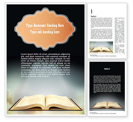 Open Bible with Light Rays Word Template, 11265, Religious/Spiritual — PoweredTemplate.com