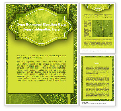Nature & Environment: Green Leaf Structure Word Template #11271
