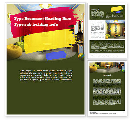 Child Room Design Word Template, 11285, Careers/Industry — PoweredTemplate.com