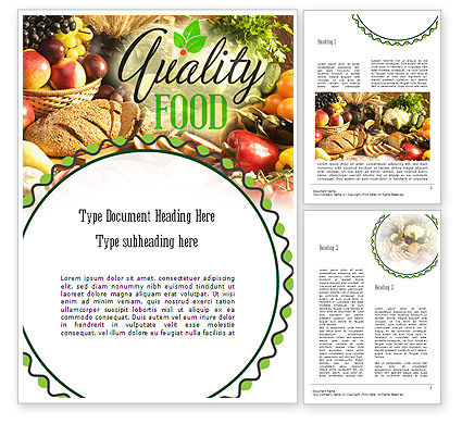 Quality Food Word Template, 11288, Food & Beverage — PoweredTemplate.com