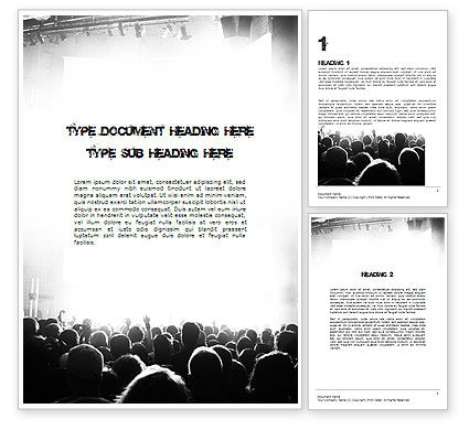 Art & Entertainment: Silhouettes of Concert Crowd Word Template #11294