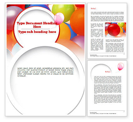 Holiday/Special Occasion: Colorful Balloons Word Template #11295