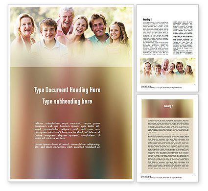 People: Happy Family Word Template #11297