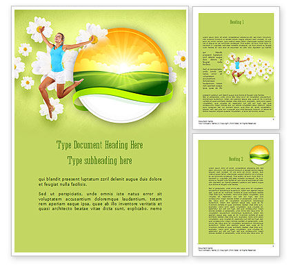 Happy Jumping Girl Word Template, 11299, People — PoweredTemplate.com