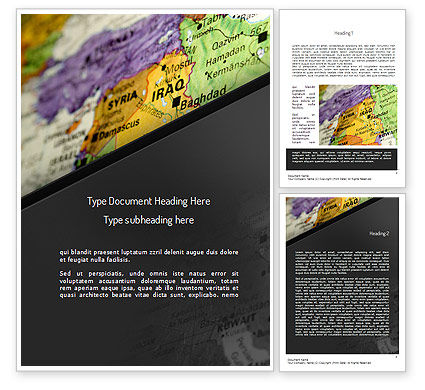 Middle East Word Template, 11303, Flags/International — PoweredTemplate.com