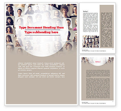 Beautiful Faces Collage Word Template, 11308, People — PoweredTemplate.com