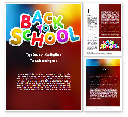 New School Year Word Template, 11311, Education & Training — PoweredTemplate.com
