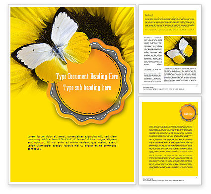 Nature & Environment: Butterfly on Sunflower Word Template #11322