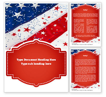 Festive American Flag Word Template 11323  PoweredTemplatecom