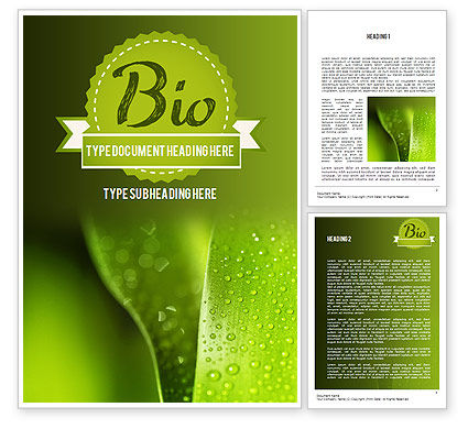 Nature & Environment: Drops of Dew on a Leaf Word Template #11337