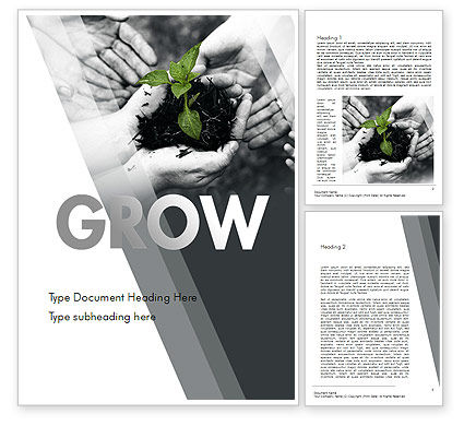 Sprout In Careful Hands Word Template, 11340, Business Concepts — PoweredTemplate.com