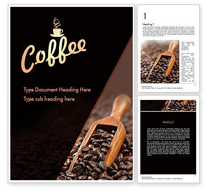 Food & Beverage: Roasted Coffee Beans Word Template #11357