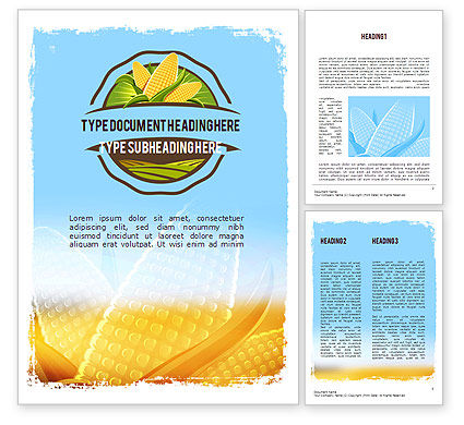 Maize Theme Word Template, 11358, Agriculture and Animals — PoweredTemplate.com
