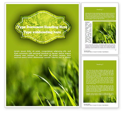 Green Grass Theme Word Template, 11368, Nature & Environment — PoweredTemplate.com