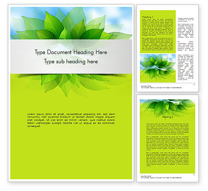 Bunch of Green Leaves Word Template, 11374, Nature & Environment — PoweredTemplate.com
