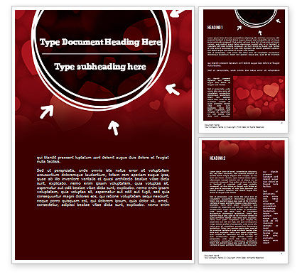 Holiday/Special Occasion: Hearts Background Word Template #11384