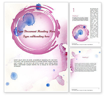 Art & Entertainment: Watercolor Stains Word Template #11402