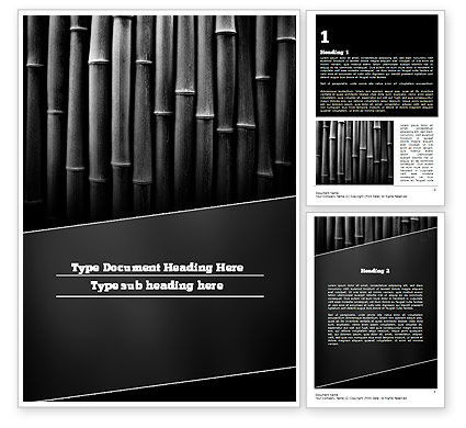 Black Bamboo Word Template, 11403, Nature & Environment — PoweredTemplate.com