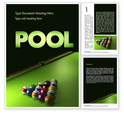 Pool Game Word Template, 11413, Sports — PoweredTemplate.com