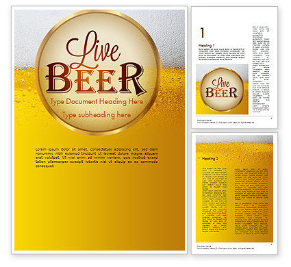 Beer Theme Word Template, 11422, Food & Beverage — PoweredTemplate.com