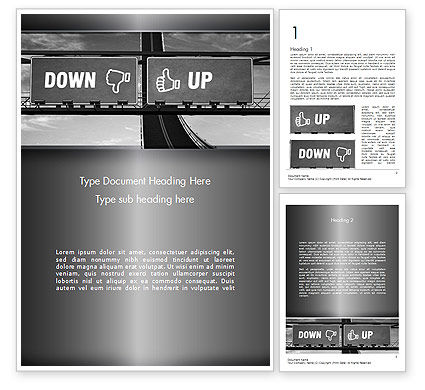 Up and Down Highway Signs Word Template, 11423, Business Concepts — PoweredTemplate.com