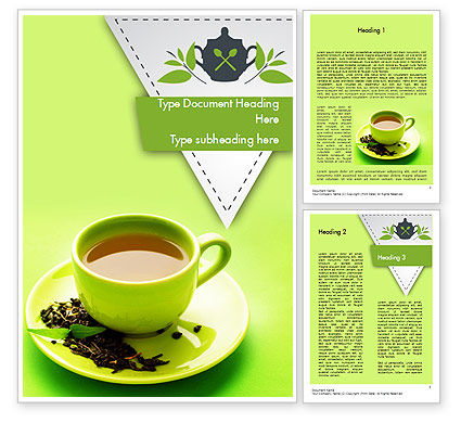 Green Tea Cup Word Template, 11431, Food & Beverage — PoweredTemplate.com