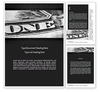 One Dollar Word Template, 11439, Financial/Accounting — PoweredTemplate.com