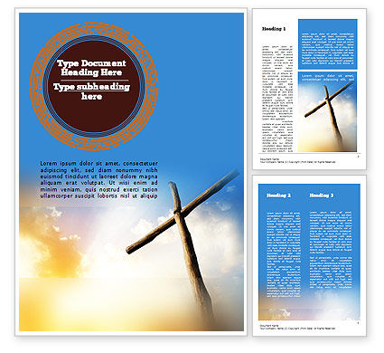 Religious/Spiritual: Sunrise Cross Theme Word Template #11450