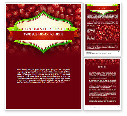 Pomegranate Seeds Word Template, 11454, Food & Beverage — PoweredTemplate.com