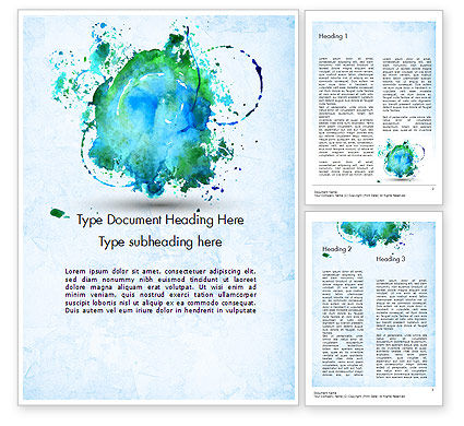 Abstract/Textures: Turquoise Watercolor Stains Word Template #11456