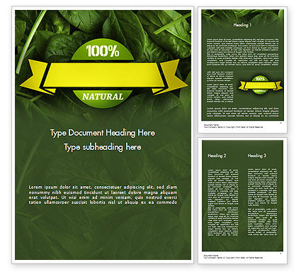 Spinach Word Template, 11463, Food & Beverage — PoweredTemplate.com