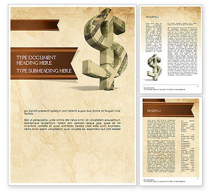 Dollar Sign Word Template, 11464, Financial/Accounting — PoweredTemplate.com