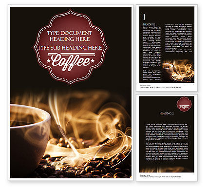 Food & Beverage: Cup of Coffee with Hot Steam Word Template #11484