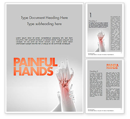 Painful Hands Word Template, 11490, Medical — PoweredTemplate.com