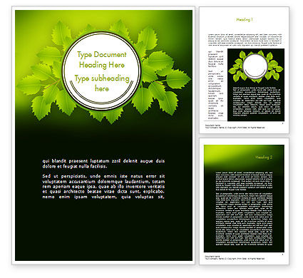 Nature & Environment: Green Branch Word Template #11498