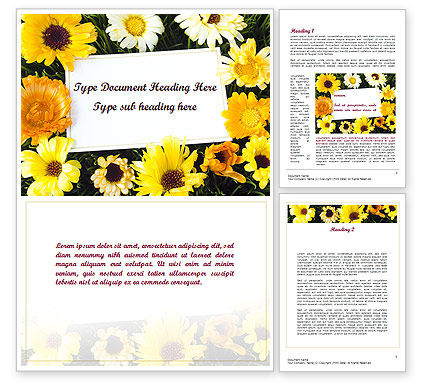 Greeting Card with Flowers Word Template, 11502, Holiday/Special Occasion — PoweredTemplate.com