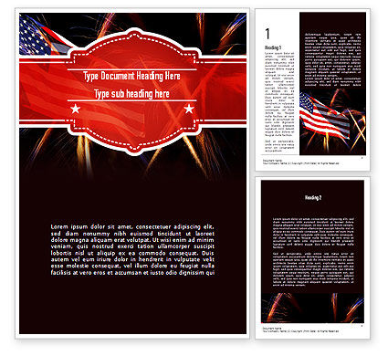 American Flag with Fireworks Word Template, 11512, Holiday/Special Occasion — PoweredTemplate.com