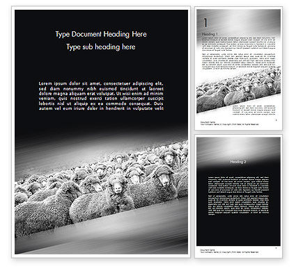 Flock of Sheep Word Template, 11520, Agriculture and Animals — PoweredTemplate.com