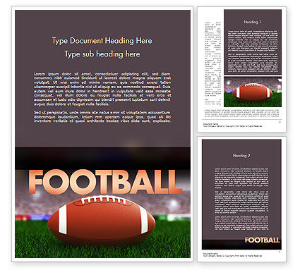 Sports: American Football on Grass Word Template #11524