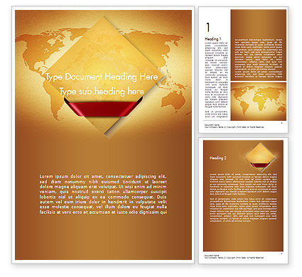 Global: World Map in Sand Colors Word Template #11525