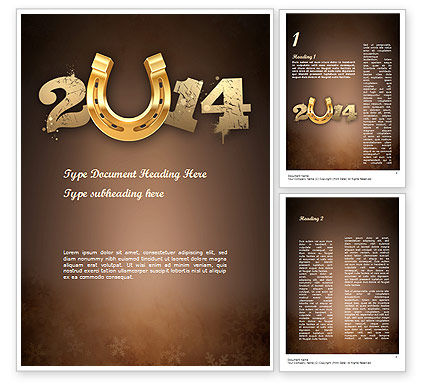Holiday/Special Occasion: 2014 with Golden Horseshoe Word Template #11527