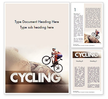 Biking Up Mountain Word Template, 11534, Sports — PoweredTemplate.com
