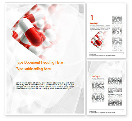 Red and White Pills Word Template, 11539, Medical — PoweredTemplate.com