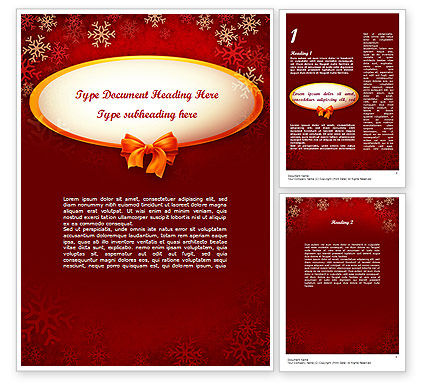 Snowflakes on Red Background Word Template, 11549, Holiday/Special Occasion — PoweredTemplate.com