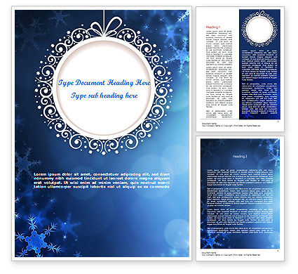 Blue Snowflakes Background Word Template, 11558, Holiday/Special Occasion — PoweredTemplate.com