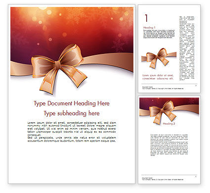 Christmas Bow-knot Word Template, 11584, Holiday/Special Occasion — PoweredTemplate.com