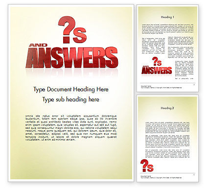 Red Questions and Answers Word Template, 11621, Careers/Industry — PoweredTemplate.com