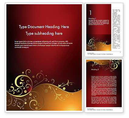Abstract/Textures: Golden Pattern with Swirls Word Template #11623