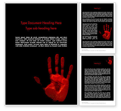 Blood Hand Word Template, 11640, Legal — PoweredTemplate.com